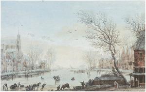 Winterlandschap met figuren op het ijs in een stad