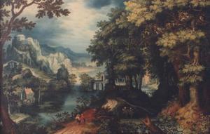 Boslandschap met Tobias en de engel (Tobit 6)