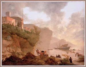 Mediterrane kustlandschap met fort