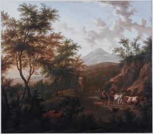 Bosachtig berglandschap met veedrijvers en hun vee en in de achtergrond een ruïne