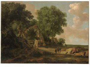 Landschap met rustende reizigers bij een boerderij
