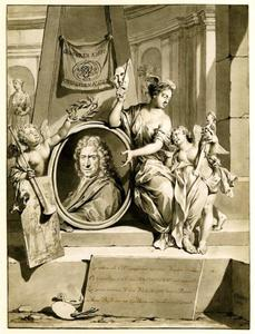 Portret van de schilder Johannes Bronckhorst (1648-1727), omgeven door de Faam, de Schilderkunst en de Natuur