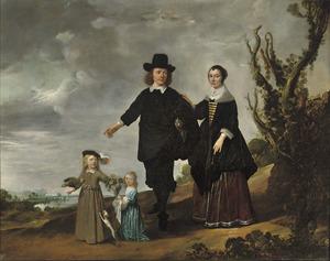 Familieportret in een duinlandschap