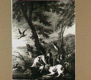 Honden jagen op eenden