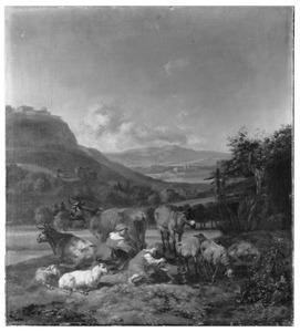 Zuidellijk landschap met herderinnen met vee