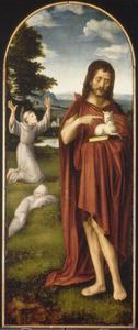 De H.  Johannes de Doper. In de achtergrond de H. Franciscus van Assisi