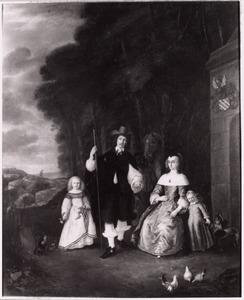 Portret van de familie van Adriaen Weveringh (1616-1668) en Catharina van den Helm (1626-?), met een bediende