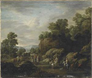 Rotsachtig landschap met paard en wagen, ruiters en wandelaars