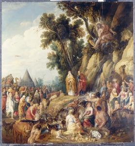 Mozes slaat water uit de rotsen, zodat het volk zijn dorst kan lessen  (Exodus 17:6-7) met Johannes de Doper, die toeziet van boven