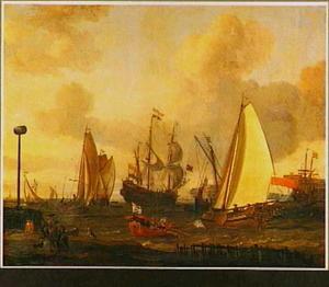 Driemaster en andere vaartuigen in de haven van Amsterdam