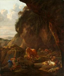 Bergachtig landschap met herderin en vee
