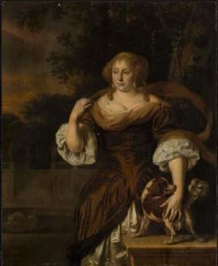 Portret van een vrouw met een hond