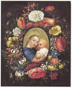 Bloemkrans rondom een Madonna met kind