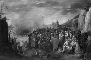 Mozes en de Israëlieten met de lijkkist van Jozef op de oevers van de Rode Zee en de ondergang van farao's leger (Exodus 13:22-31)