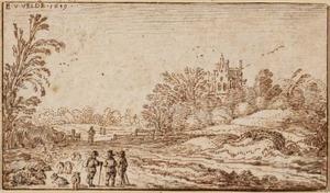 Landschap met herders en een gebouw