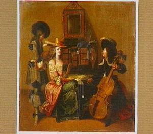 Interieur met een elegante dame en twee musicerende heren