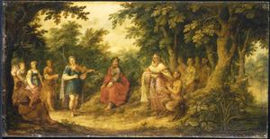 Boslandschap met het oordeel van koning Midas tijdens de wedstrijd tussen Apollo en Pan