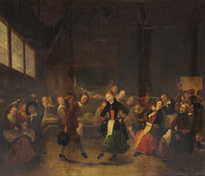Dansend paar in een herberginterieur met muzikanten en toeschouwers