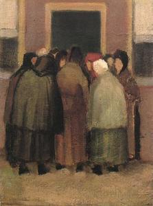Vrouwtjes bij een deur