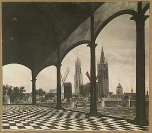 Gezicht op Delft met de Nieuwe en de Oude Kerk