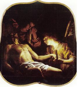 Christus door twee engelen beweend