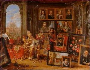 De allegorische figuur van Europa gezeten in een Wunderkammer, met op de achtergrond  de Engelenburcht in Rome