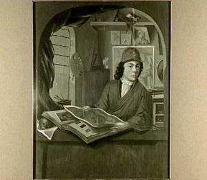 Portret van een schilder in zijn atelier