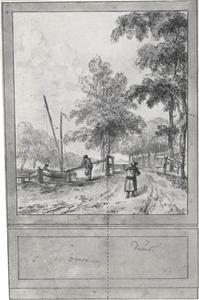 Gedeelte uit een wandontwerp met een behangselvlak met Brouwersstraat te Overveen