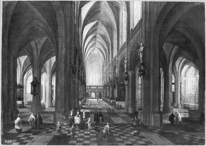 Interieur van de Onze Lieve Vrouwekathedraal van Antwerpen met een doopprocessie