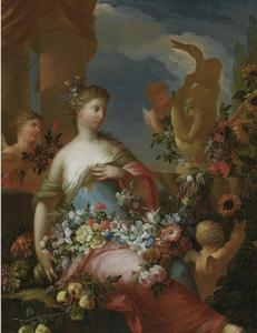 Jonge vrouw temidden van bloemen: allegorie op de zomer