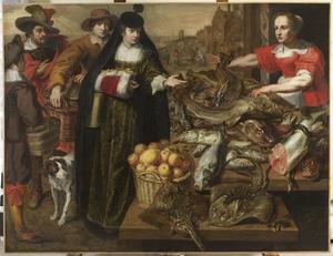 Dame op de vismarkt in Antwerpen