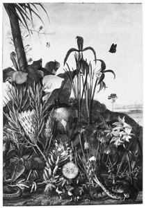 Exotische planten en bloemen met een slang in een landschap
