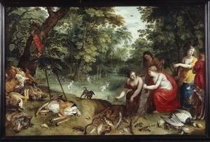 Boslandschap met Diana en haar nimfen na de jacht en de visvangst