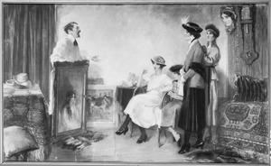 De schilder in zijn atelier terwijl hij bezoek ontvangt