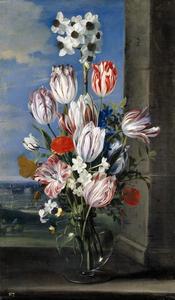 Bloemen in een vaas op een vensterbank, op de achtergrond het beleg van Grevelingen/Gravelines  van 1652
