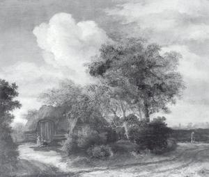 Landschap met een hut aan een weg