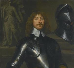 Portret van James Graham, 1st Marquess of Montrose, Lord-Lieutenat of Scotland, met een standbeeld van Minerva