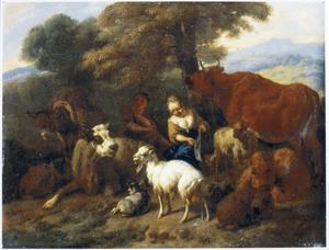 Zuidelijk landschap met rustend herderspaar, vee en ezel