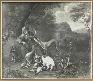 Rustende jager met jachthoorn bij jachtbuit
