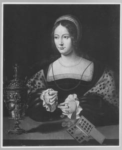 Portret van een vrouw die munten weegt