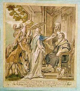 De vrouw van Jerobeam bij de aan staar lijdende profeet Ahia (I Koningen 14:1-18)
