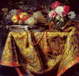 Bloemen en vruchten op een oosters tapijt