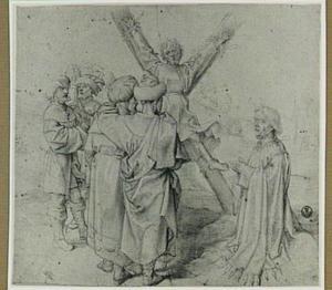 De kruisiging van de Heilige Andreas, rechts een stichter
