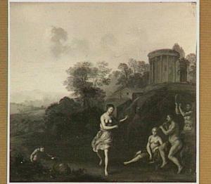 Arcadisch landschap met dansende en musicerende figuren