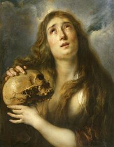 De boetvaardige Heilige Maria Magdalena met een schedel in de hand