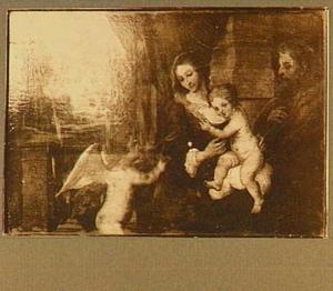 Heilige familie met links een putto die vruchten aanbiedt