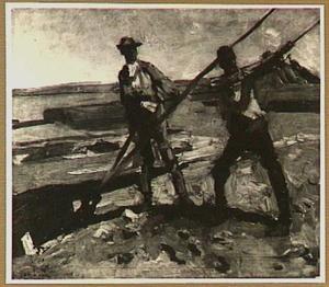 Twee grondwerkers aan de tuiën van een heistelling