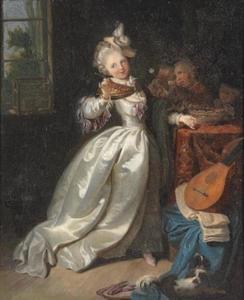Jonge vrouw in interieur