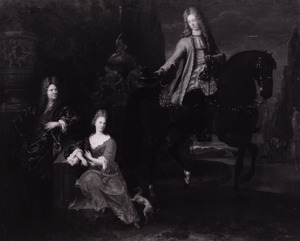 Portret van twee mannen en een vrouw