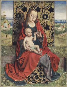 Maria met kind gezeten op een zodenbank voor een brokaten doek. In de achtergrond een landschap